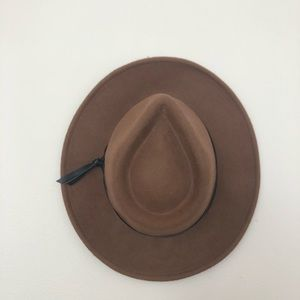 Brown Wool Fedora with black leather band